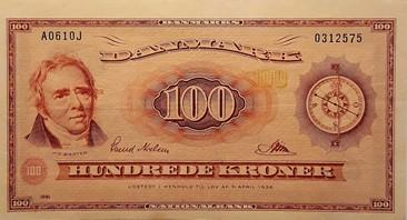 100 krone seddel 1961 skæv trykt forside flot