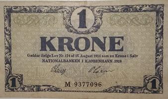 1 krone seddel fra 1918