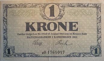 1 Krone seddel 1921 flot