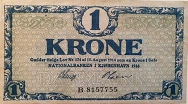 1 krone seddel 1916