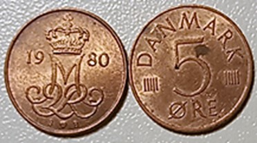 5 øre kobber 1973 – 1983