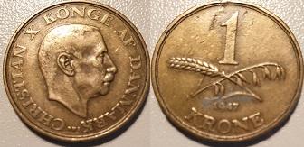 1 Krone Alum. bronze 1947