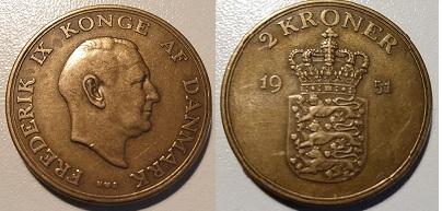 2 Krone Alum. bronze 1951