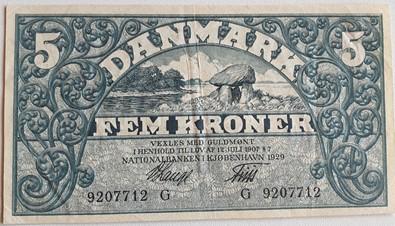 5 Krone seddel 1929