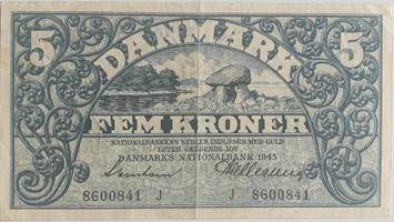 5 Kroner 1943 cirkuleret flot